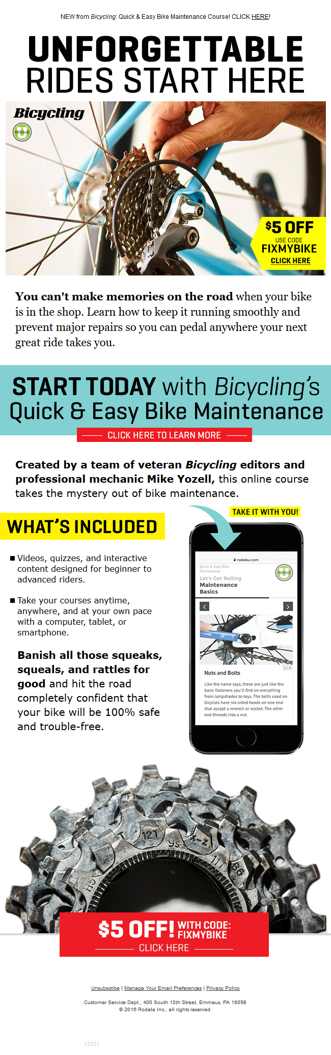 Bicycling - SALE: $5 Off Bicycling's Maintenance Course