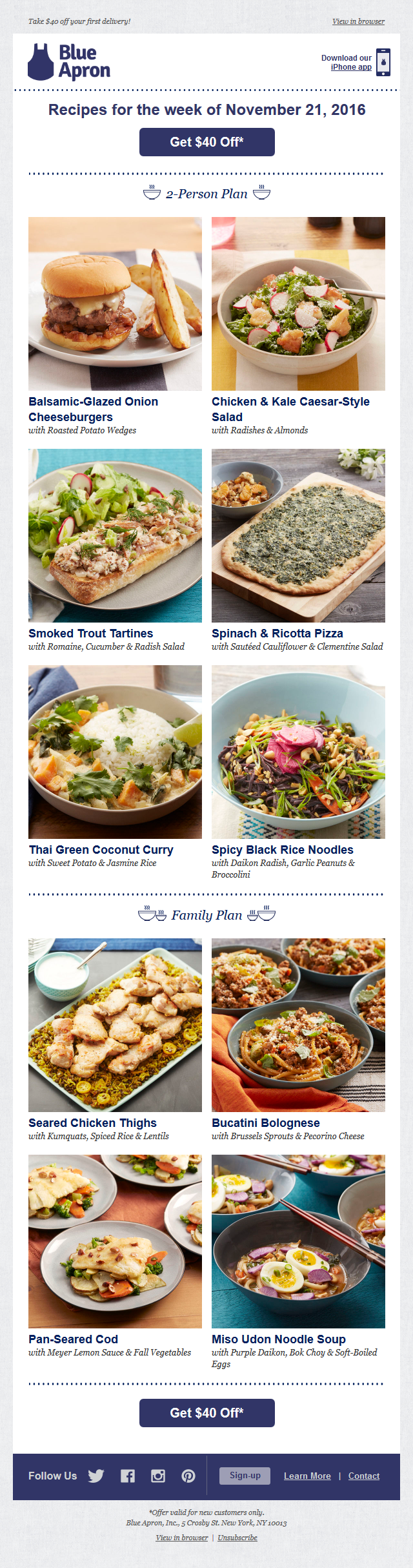 Blue Apron - $40 off + cheeseburgers = a mouthwatering deal for a mouthwatering mea