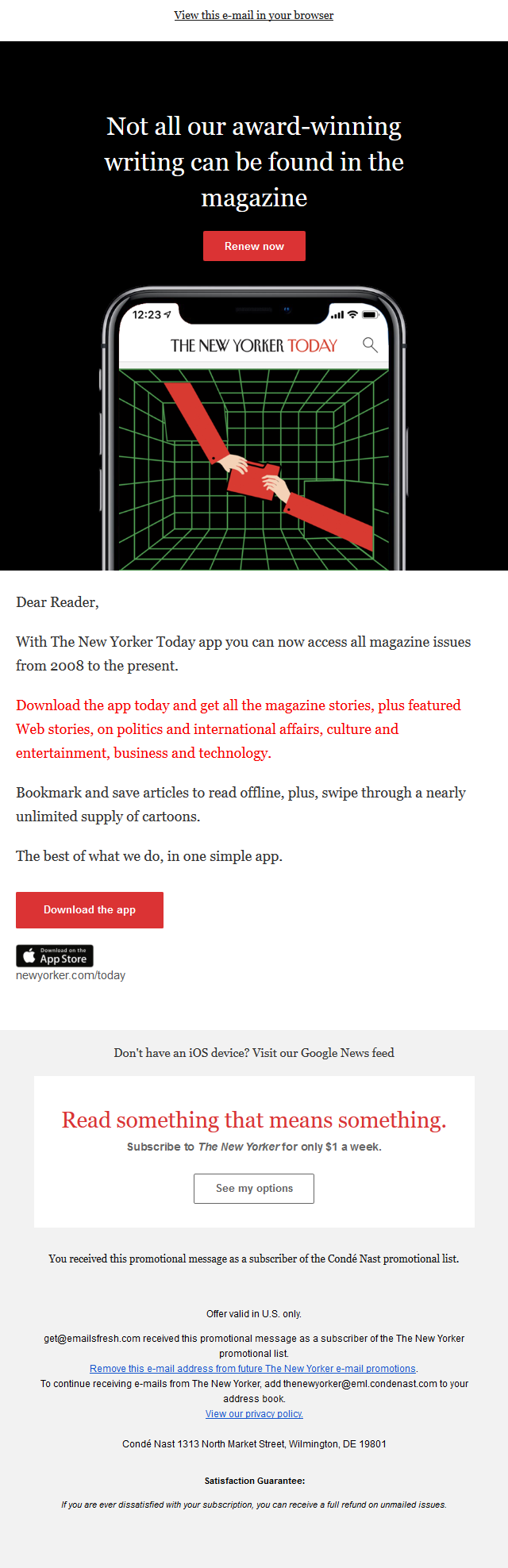 Download The New Yorker Today iOS App - the best of what we do, in one simple place.