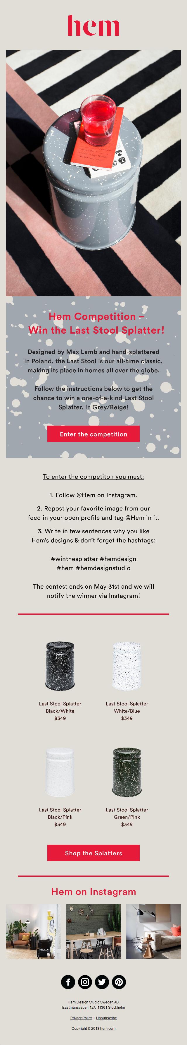 Hem Competition – Win the Last Stool Splatter!