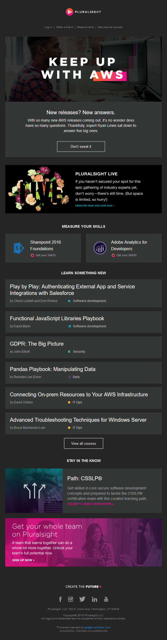 New from Pluralsight: Struggling to keep up with AWS updates? We've got your back.