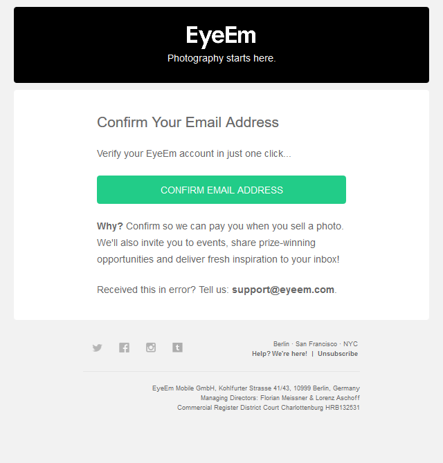 One more step: Confirm your EyeEm Account