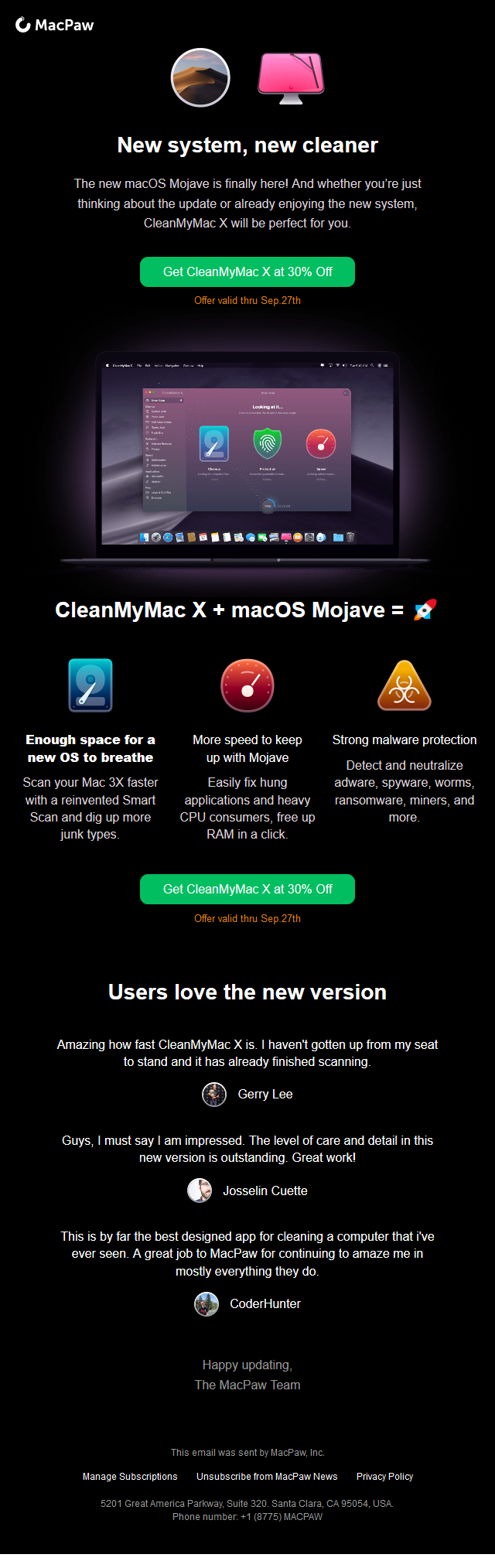 A perfect match — Mojave and CleanMyMac X
