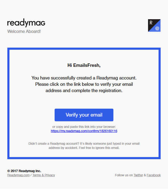 readymag — Email Verification