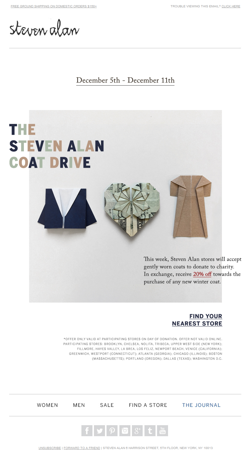 Steven Alan Coat Drive | Donate for 20% on all Outerwear