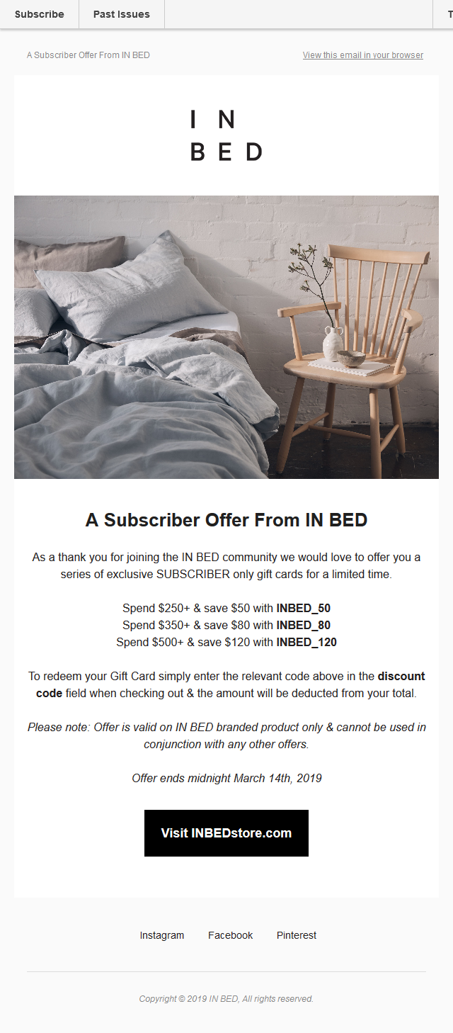 Subscribers Only Offer: A gift card from IN BED