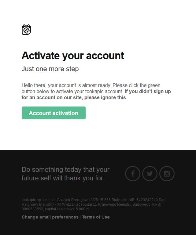 tookapic: account activation