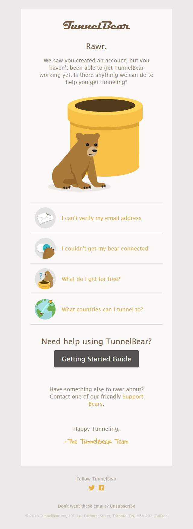 TunnelBear - Is your bear misbehaving?