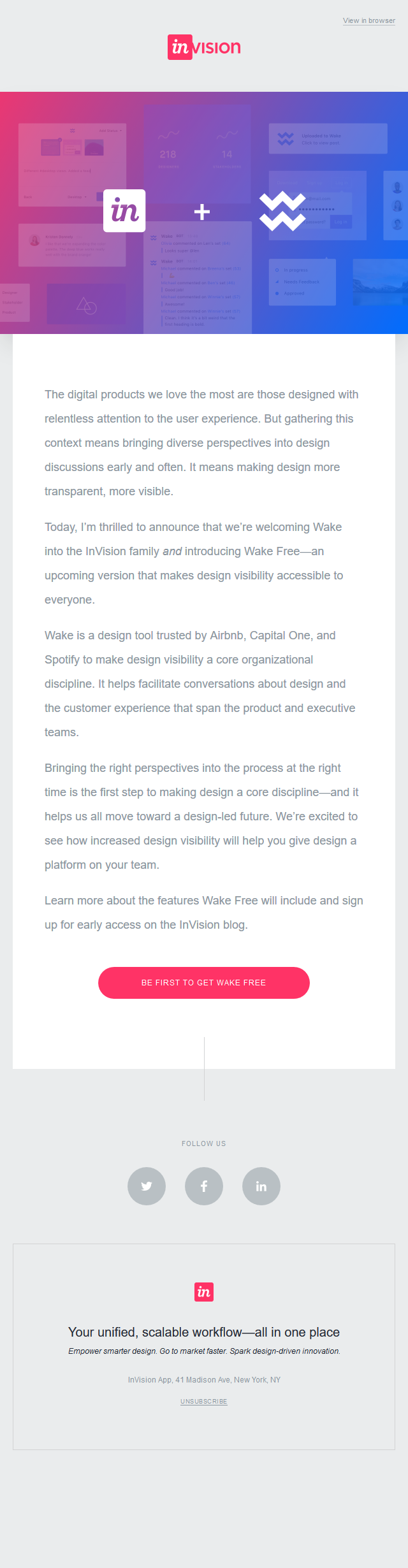 Wake + InVision—bringing design visibility to more teams