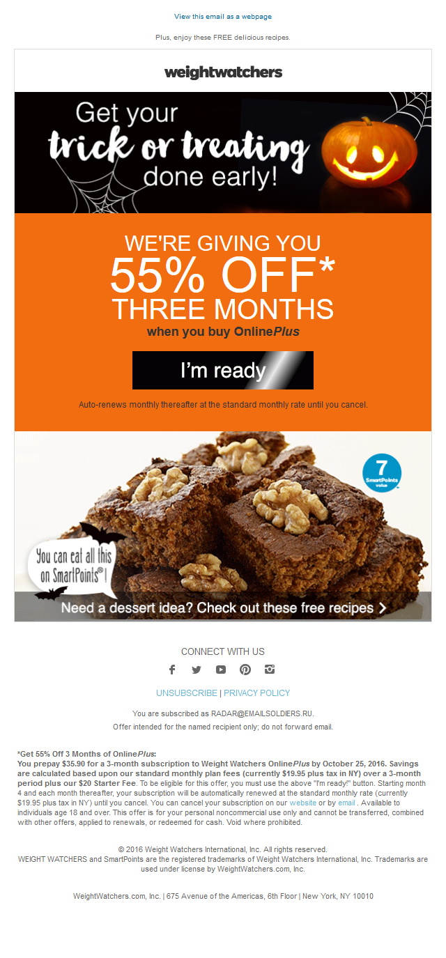 Weight Watchers Special - Pick up your deal before it's gone!