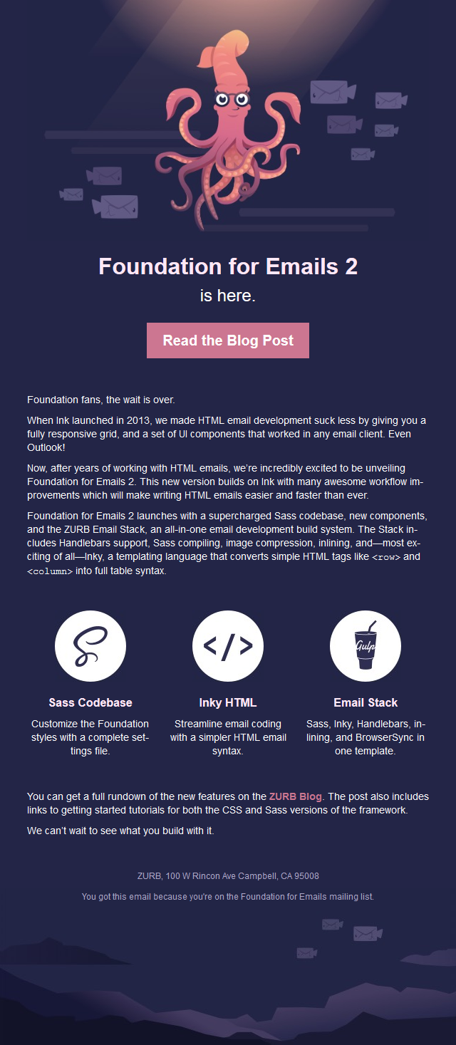 Zurb Foundation For Emails Is Here - Foundation email templates
