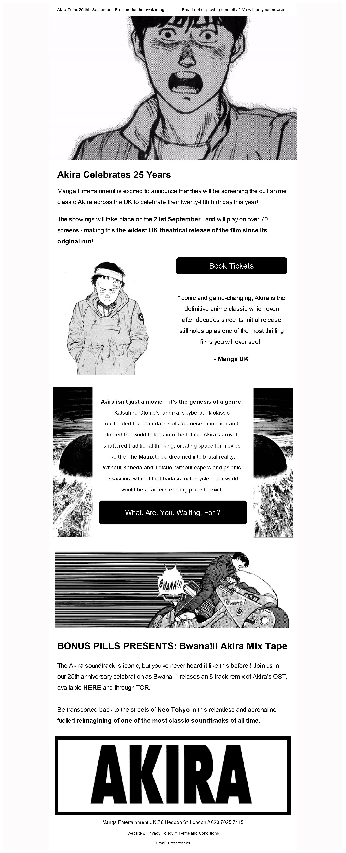Akira 25th Anniversary Email