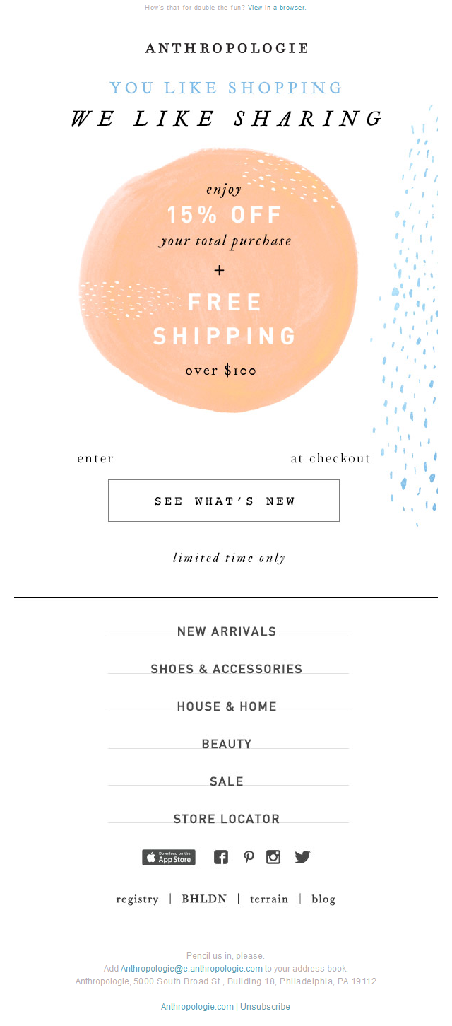 Anthropologie - Use it or lose it: 15% OFF, last call!