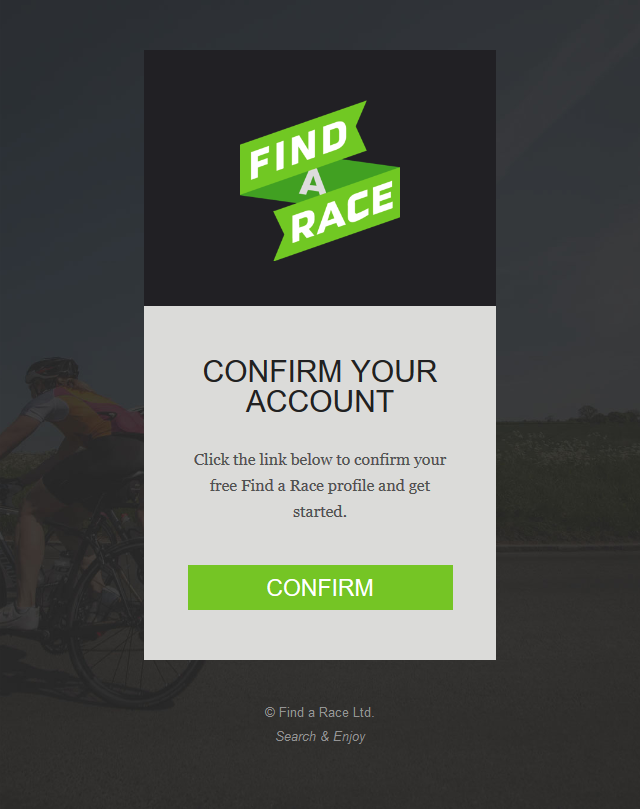 Find A Race - Confirm your account