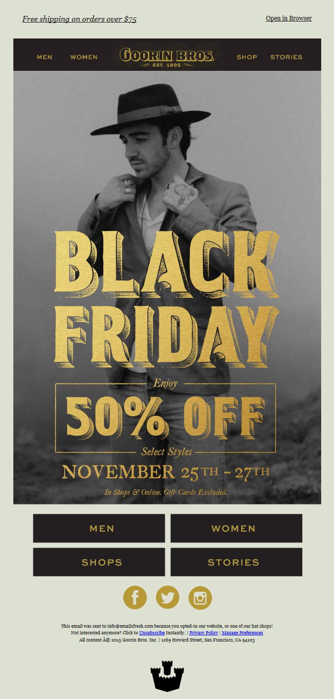 Goorin Bros. - Black Friday, 50% Off Select Styles