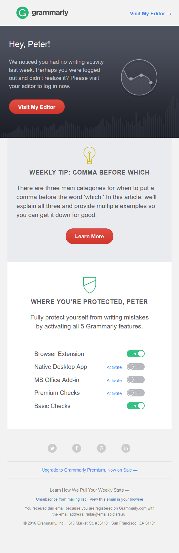Grammarly - Your Weekly Progress Report & Tips
