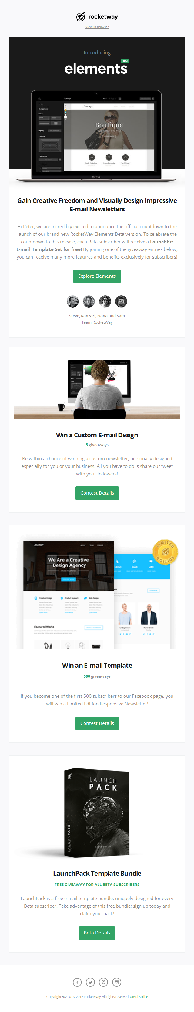 Introducing RocketWay Elements - Visually Design Impressive E-mail Newsletters