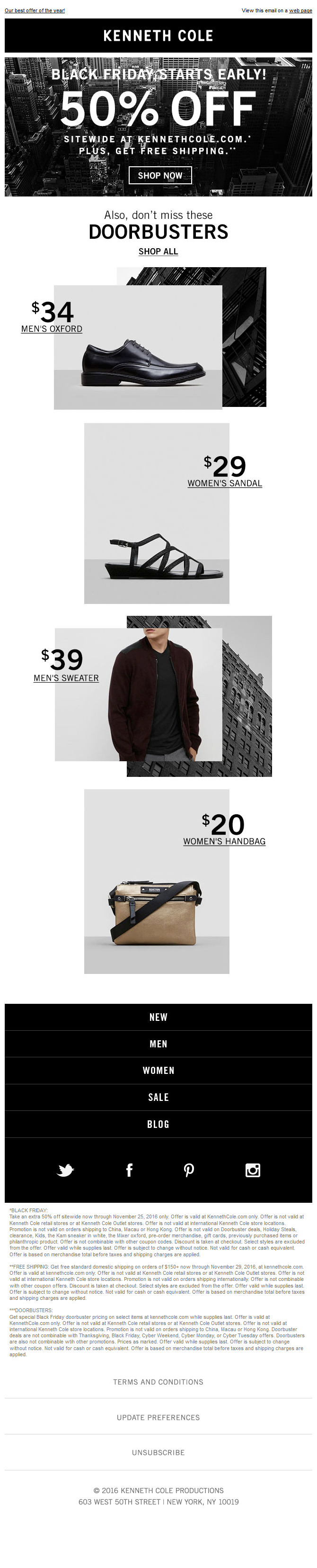 Kenneth Cole - Beat the rush…shop 50% OFF SITEWIDE tonight!
