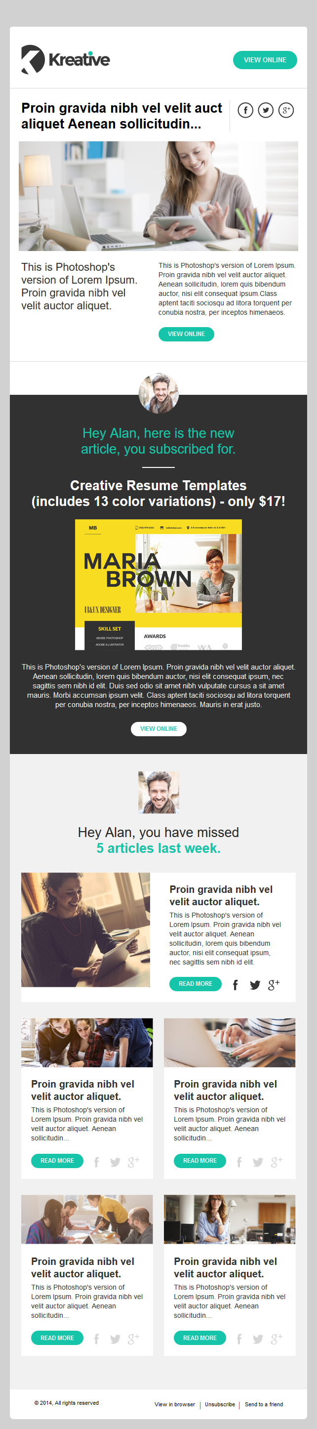Kreative – Free Email Newsletter Template