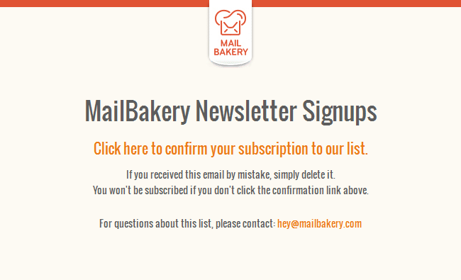 MailBakery Newsletter Signups: Please Confirm Subscription