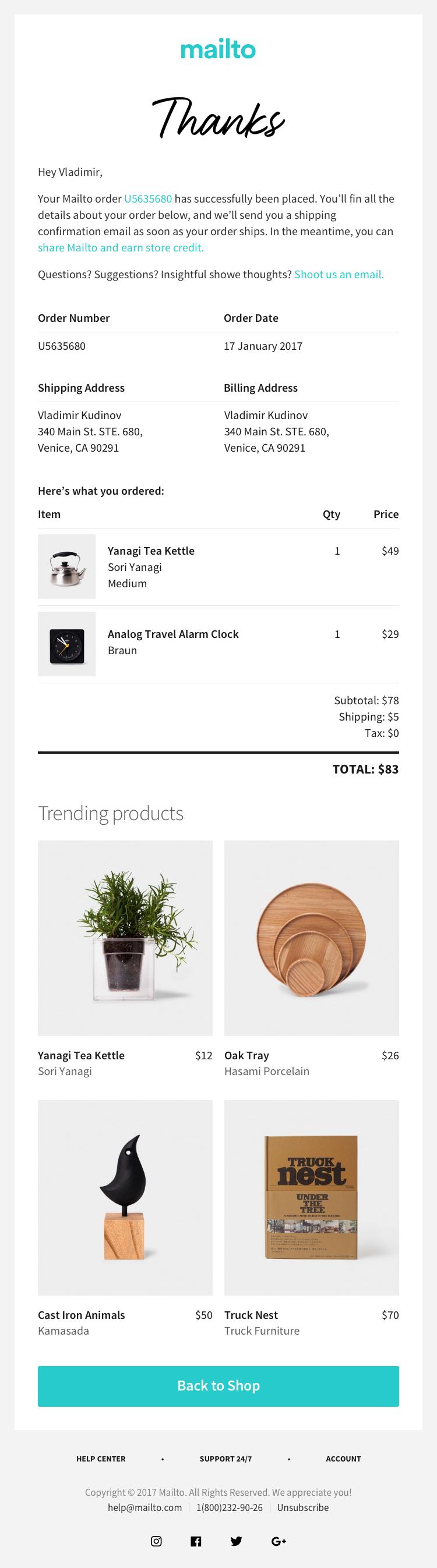 mailto - Thanks for Order