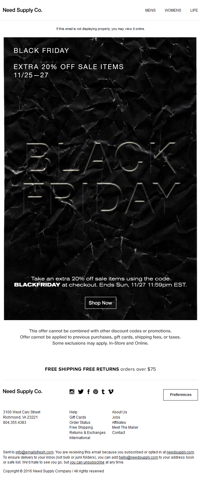 Need Supply Co. - BLACK FRIDAY - EXTRA 20% OFF SALE