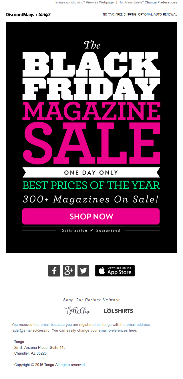 Tanga - The Biggest Magazine Sale of the Year. From $0.99--One Day Only!