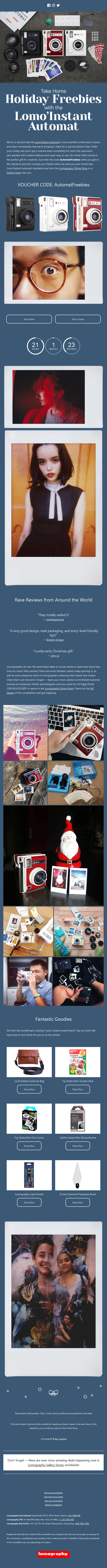 Today's Advent Deal — Free Camera Strap with Every Lomo'Instant Automat!