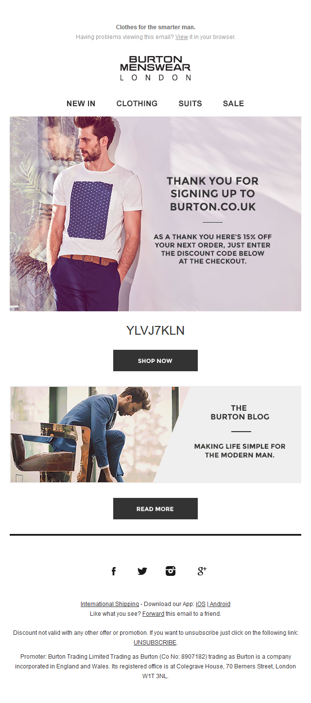 Welcome to Burton! Here's 15% off your next order...