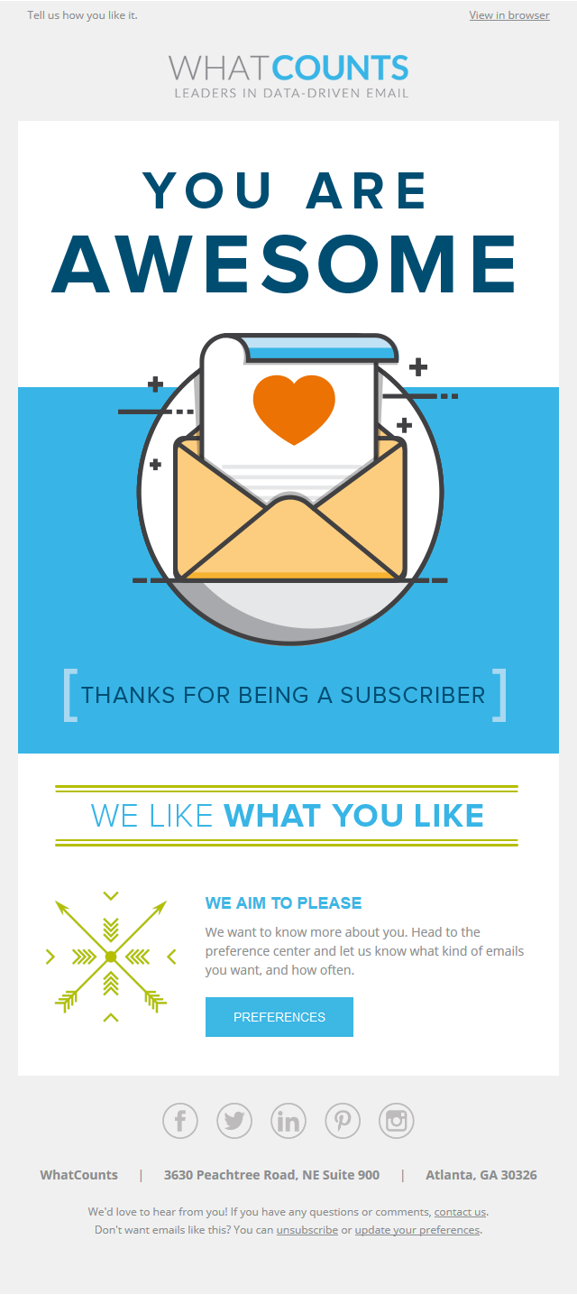 WhatCounts - Thanks for being a subscriber